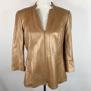 Lafayette 148 Thin Leather Jacket Bronze Gold 12